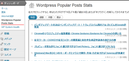 Wordpress Popular Posts Stats