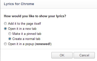 Lyrics for Google Chrome
